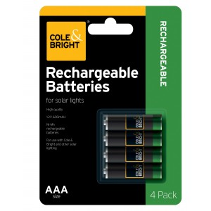 Cole & Bright Rechargeable Solar Batteries AAA 4-Pack