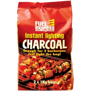 Fuel Express Instant Lighting BBQ Charcoal 2 x 1kg Bags