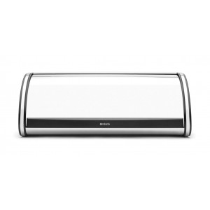 Brabantia Roll Top Bread Bin - Brilliant Steel with Matt Black Sides