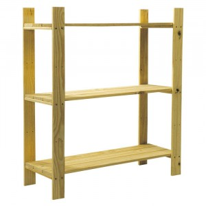 Core Products Natural Wood 3 Shelf Slatted Storage Unit