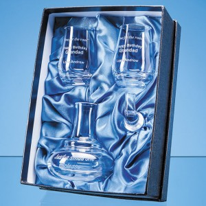 Crystal Galleries 0.1L Handmade Whisky Mini Decanter & 2 Shot Glasses Gift Set