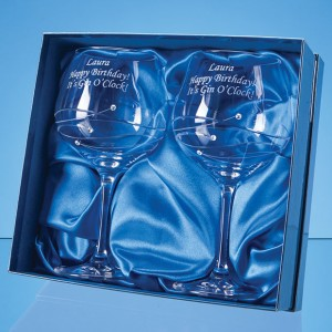 2 Diamante Gin Glasses Spiral Design Cut in Satin Gift Box