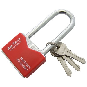 Amtech 50mm Long Shackle Rhombic Chrome Plated Iron Padlock