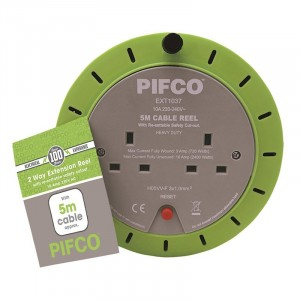 Pifco 2-Gang 10Amp Extension Reel 5m