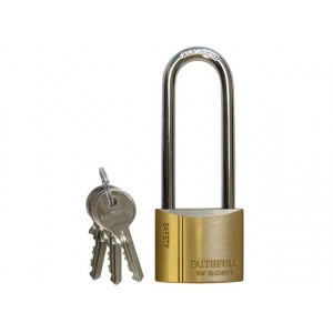 Faithfull Brass Padlock Long Shackle 40mm