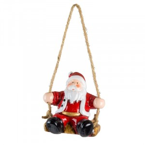 Fountasia Hanging Santa Swinging Tree Decoration