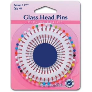 Hemline Glass Head Pins 34mm x40