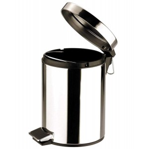 Zodiac Round Stainless Steel Pedal Bin - Mirror Finish - 5 Litre