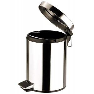 Zodiac Round Stainless Steel Pedal Bin - Mirror Finish - 5 Litre