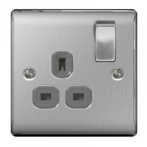 BG Nexus 1 Gang DP Switched Socket Brushed St/Steel/Grey