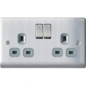 BG Nexus 2 Gang DP Switched Socket Brushed St/Steel/Grey