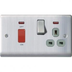 BG Nexus 45A DP Cooker Unit & Socket Brushed Stainless Steel