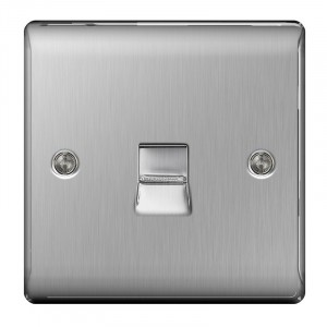 BG Nexus Telephone Master Socket Brushed St/Steel
