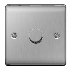 BG Nexus 1 Gang 2 Way 400W Dimmer Brushed St/Steel