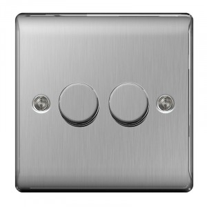 BG Nexus 2 Gang 2 Way 400W Dimmer Brushed St/Steel