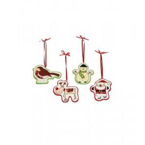 KitchenCraft Santa Ceramic Decorations (4)