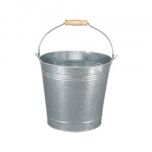 15 Litre Traditional Galvanised Bucket with Wood Handle