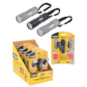Rolson 9 LED Torch Set (3)