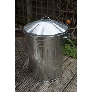 Apollo 90L Galvanised Metal Dustbin with Lid