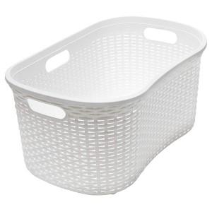 Addis Faux Rattan Hipster Laundry Basket Calico Linen 40 Litre