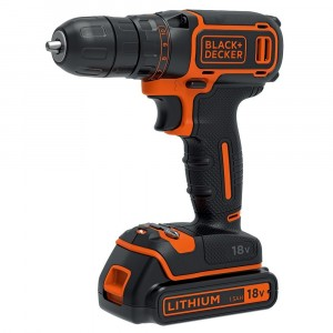 Black & Decker Cordless Drill Driver with 1.5Ah Lithium Ion Battery 18V