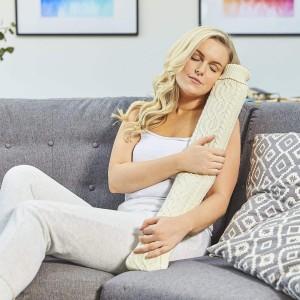 Long Hot Water Bottle Knit Cream