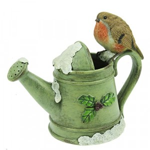 Ceramic Robin on a Watering Can Christmas Figurine
