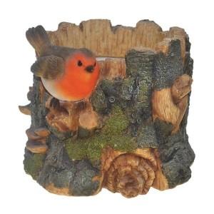 Vivid Arts Robin on a Tree Trunk Planter Pot