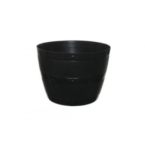 Whitefurze 34cm Black Barrel Planter