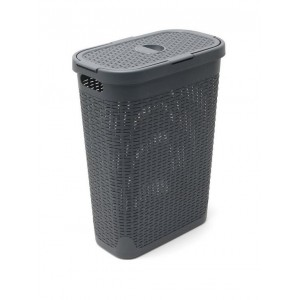 Addis Faux Rattan Slim Hamper - Charcoal