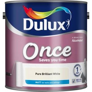 Dulux Once Matt Emulsion Pure Brilliant White 2.5 Litre