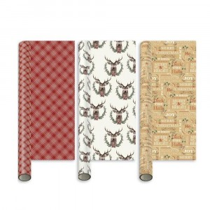 I G Design Gift Wrap 5 Metre Roll Traditional Christmas Assorted