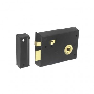Securit Rim Latch With Snib Black