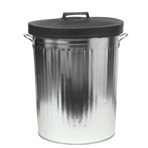 Ambassador Galvanised Dustbin with Rubber Lid