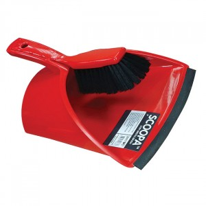 Scoopa Dustpan & Brush with Stiff Bristles Red