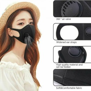 Face Mask Fabric with Valve Filter Black