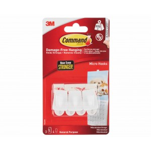 3M Command Micro Hooks Pack of 3