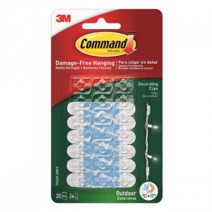 Command Decorating Clips Outdoor Pack of 20 Clear