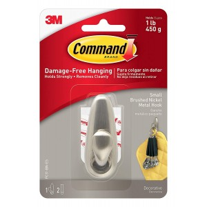 3M Command Metal Hook with Adhesive Strips