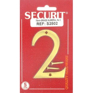 Securit Brass Numeral  75mm