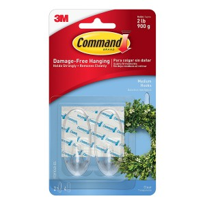 3M Command Medium Hooks with Strips Pack of 2