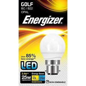 Energizer LED Energy Saving Golf Bulb Opal 3.4W (25W) BC