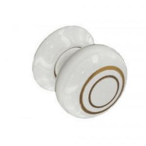 Securit Ceramic Knobs White Gold Line Pair