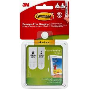 3M Command Medium & Large Picture Hanging Strips Pack 12